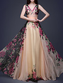 cheap Evening Dresses-Maxi Dress A-Line V Neck Floor Length Chiffon Dress with Pattern / Print by LAN TING Express