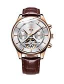 abordables Relojes Automáticos-Hombre El reloj mecánico Cuerda Automática Piel Negro / Marrón 30 m Calendario Analógico Casual - Azul Oro / Blanco Negro / Oro Rosa