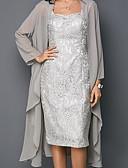 hesapli NYE Elbiseleri-Kadın's Zarif İki Parça Elbise - Solid Kalp Yaka Diz-boyu