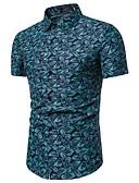 levne Pánské košile-Pánské - Puntíky / Barevné bloky / Etno EU / US velikost Košile, Tisk Bavlna Vodní modrá XL
