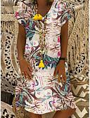 povoljno Ženske haljine-Žene Elegantno A kroj Haljina - Cvijetan Print, Cvjetni print V izrez Do koljena