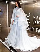 levne Svatební šaty-A-Linie Klenot Velmi dlouhá vlečka Tyl Šaty s Aplikace podle LAN TING Express