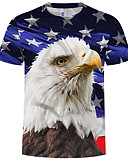 cheap Men's Tees & Tank Tops-Men's Plus Size Cotton T-shirt - Animal Print Round Neck Rainbow XXXXL