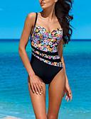 levne Bikini a plavky-Dámské Základní Černá Underwire Jednodílné Plavky - Květinový Geometrický S M L Černá