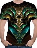 hesapli Erkek Tişörtleri ve Atletleri-Erkek Pamuklu Yuvarlak Yaka Tişört Desen, 3D Büyük Bedenler Ordu Yeşili / Kısa Kollu / Yaz