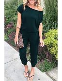 cheap Women's Jumpsuits & Rompers-Women's Basic Off Shoulder Wine Army Green Khaki Jumpsuit, Solid Colored M L XL Cotton