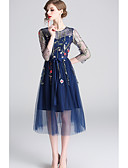 cheap Prom Dresses-Casual Dress A-Line Jewel Neck Tea Length Tulle Dress with Embroidery by LAN TING Express