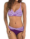 baratos Bikinis-Mulheres Esportivo Básico Laranja Roxo Azul Claro Triângulo Cavado Biquíni Roupa de Banho - Listrado Estampa Colorida Arco-Íris Frente Única Estampado XL XXL XXXL Laranja