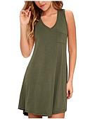 hesapli Mini Elbiseler-Kadın's Büyük Bedenler Salaş Çan Elbise - Solid, Kırk Yama V Yaka Diz üstü