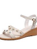 ราคาถูก กางเกงขาสั้น-สำหรับผู้หญิง PU ฤดูร้อน ไม่เป็นทางการ รองเท้าแตะ รองเท้าส้นตึก เพิร์ลเทียม ผ้าขนสัตว์สีธรรมชาติ / ฟ้า