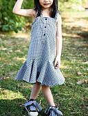 お買い得  赤ちゃん ウェアセット-赤ちゃん 女の子 活発的 / ストリートファッション チェック ラッフル ノースリーブ レーヨン ドレス ブラック