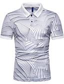 baratos Pólos Masculinas-Homens Polo Estampado, Listrado Colarinho de Camisa Delgado Azul