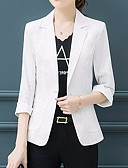 abordables Blusas para Mujer-Mujer Blazer Escote en Pico Poliéster Blanco / Negro / Rosa XXL / XXXL / XXXXL