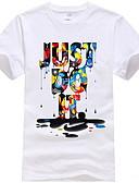 hesapli Erkek Tişörtleri ve Atletleri-Erkek Yuvarlak Yaka Tişört Grafik / Harf Beyaz