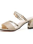 cheap Women's Shirts-Women's PU(Polyurethane) Summer Sandals Chunky Heel Gold / Silver