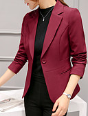 hesapli Kadın Kabanları ve Trençkotları-Kadın's Blazer, Solid Çentik Yaka Polyester / Splandeks Şarap / Açık Mavi / Navy Mavi