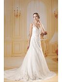 baratos Vestidos de Casamento-Linha A Decote V Cauda Capela Renda / Tule Vestidos de casamento feitos à medida com Miçangas / Fitas e Laços de ANGELAG