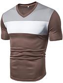 hesapli Erkek Gömlekleri-Erkek V Yaka Tişört Kırk Yama, Solid / Zıt Renkli Temel Spor AB / ABD Beden Siyah / Kısa Kollu