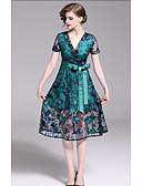 preiswerte Abendkleider-A-Linie V-Wire Ausschnitt Knie-Länge Tüll Kleid mit Stickerei / Schärpe / Band durch LAN TING Express