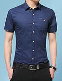 voordelige Herenoverhemden-Heren Geborduurd Grote maten - Overhemd Katoen Grafisch Opstaande boord Slank Marineblauw XXXL
