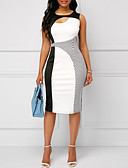 tanie Sukienki-Damskie Podstawowy Bodycon Pochwa Sukienka - Kolorowy blok Do kolan