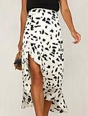 זול חצאיות לנשים-קפלים נמר - חצאיות א-סימטרי גזרת A בגדי ריקוד נשים לבן שחור M L XL / רזה