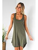 hesapli Kadın Elbiseleri-Kadın's Temel Tişört Elbise - Solid Diz üstü