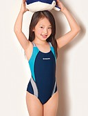 お買い得  女児 スイムウエア-子供 女の子 活発的 / ベーシック カラーブロック ノースリーブ ポリエステル 水着 ルビーレッド