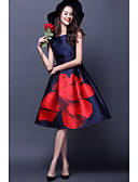 cheap Cocktail Dresses-Casual Dress A-Line Jewel Neck Knee Length Satin Dress with Pattern / Print by LAN TING Express