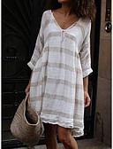 cheap Panties-Women's Basic Swing Dress - Striped Stripe Patchwork Fashion V Neck Spring Light Blue Khaki Lavender XXXL XXXXL XXXXXL