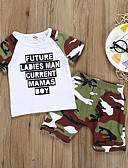 abordables Sets de Vêtements pour Garçon Bébés-bébé Garçon Basique Imprimé Imprimé Sans Manches Normal Coton Ensemble de Vêtements Blanc / Bébé
