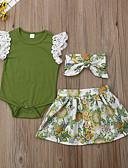 povoljno Kompletići za bebe-Dijete Djevojčice Boho Cvjetni print Kratkih rukava Regularna Pamuk Komplet odjeće Djetelina