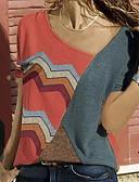 hesapli Tişört-Kadın's Tişört Zıt Renkli Büyük Bedenler YAKUT