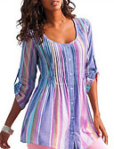 cheap Women's Shirts-Women's T-shirt - Striped Ruffle / Floral / Fashion Blue L / Spring / Summer / Fall / Winter