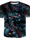 billige T-shirts og undertrøjer til herrer-Rund hals Tynd Herre - 3D / Dødningehoveder T-shirt Regnbue XL