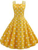 baratos Vestidos de Mulher-Mulheres Vintage Anos 50 Evasê Vestido - Estampado, Poá Altura dos Joelhos