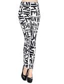 hesapli Taytlar-Kadın's Podstawowy Legging - Harf, Desen Yüksek Bel Beyaz Tek Boyut / Dar