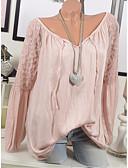 abordables Blusas para Mujer-Mujer Encaje / Retazos Camiseta Un Color Rosa XXXL