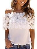hesapli Tişört-Kadın's Düşük Omuz İnce - Bluz Dantel / Düşük Omuz, Solid Beyaz / Bahar / Yaz / Sonbahar / Kış
