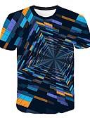 abordables Camisetas y Tops de Hombre-Hombre Estampado Camiseta, Escote Redondo Geométrico / Bloques / 3D Arco Iris XXXXL