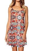 hesapli Mini Elbiseler-Kadın's Temel A Şekilli Elbise - Çiçekli, Desen Diz üstü