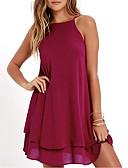hesapli Mini Elbiseler-Kadın's Sokak Şıklığı Şifon Elbise - Solid Mini