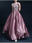 hesapli Print Dresses-A-Şekilli Taşlı Yaka Yere Kadar Saten Kurdeleler / Dantel Ekleme ile Resmi Akşam Elbise tarafından LAN TING Express