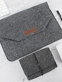billiga MacBook-tillbehör-naturlig ull filt bärbar dator väska beskydd väska plus strömförpackning kompatibel 11-15 tum macbook pro macbook luft laptop grå svart