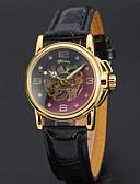 זול שעונים-בגדי ריקוד נשים שעון מכני אלגנטית מינימליסטי שחור לבן עור אמיתי קווארץ לבן שחור חריתה חלולה אנלוגי