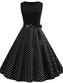 hesapli Vintage Kraliçesi-Kadın's Vintage A Şekilli Elbise - Yuvarlak Noktalı, Kırk Yama Diz-boyu