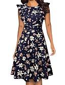 hesapli Print Dresses-Kadın's Zarif A Şekilli Elbise - Çiçekli, Desen Diz üstü