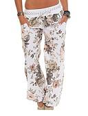 hesapli Maksi Elbiseler-Kadın's Temel Büyük Bedenler Salaş Chinos / büzgülü kısa pantalon Pantolon - Çiçekli Doğal Pembe Ordu Yeşili Haki XXXL XXXXL XXXXXL