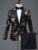 זול חליפות-שחור מעוטר גזרה מחוייטת פוליאסטר חליפה - פתוח Single Breasted One-button / חליפות