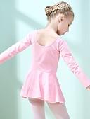 זול בגדי ים לבנות-בגדי ריקוד לילדים שמלות בנות הדרכה / הצגה פולי-כותנה דמוי גל שרוול ארוך טבעי שמלה